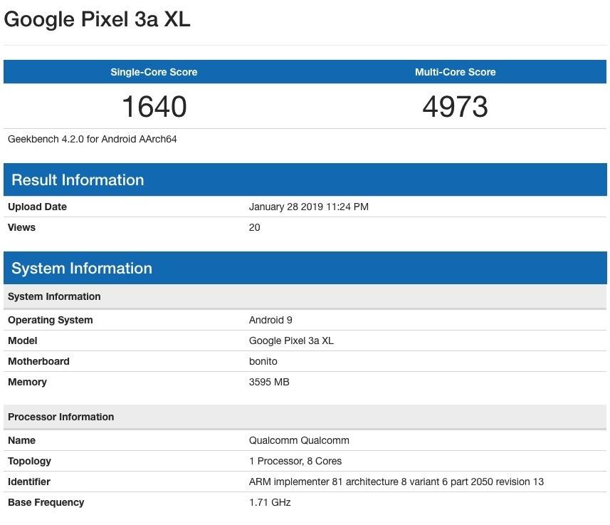 pixel 3 xl lite benchmarks