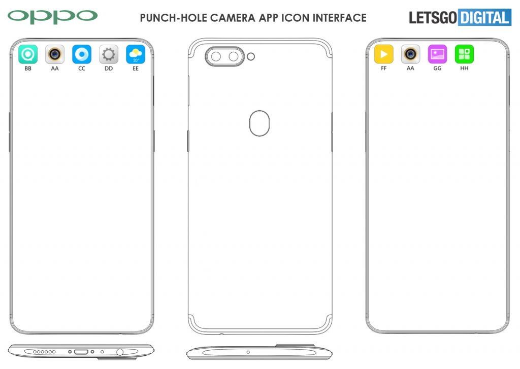 oppo hides punch hole camera