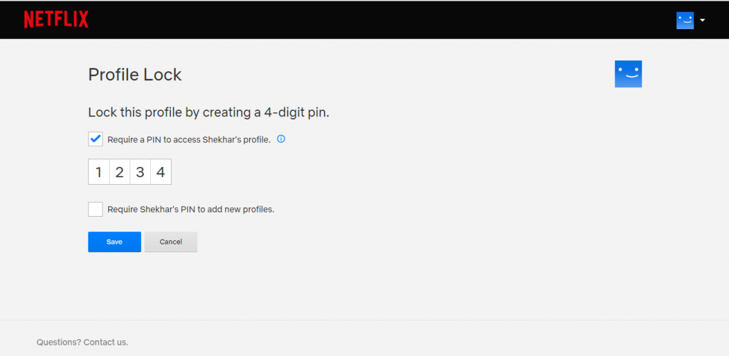 make your Netflix profile PIN protected