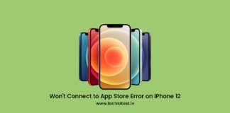 Can't Connect to App Store Error on iPhone 12